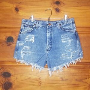 Wrangler Shorts - Vintage Wrangler Cut Off Distressed Shorts size 34